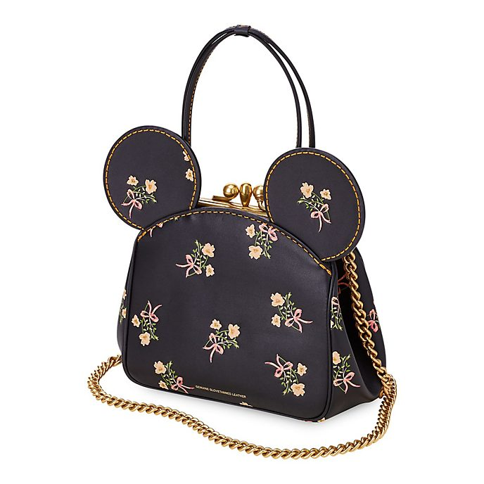 COACH Sac à main à fleurs Minnie en cuir noir avec fermoir croisé