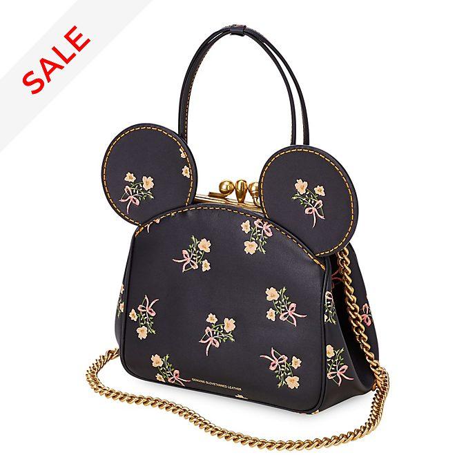 COACH - Minnie Maus - Lederhandtasche mit Blumenmuster und Kisslock-Verschluss in Schwarz
