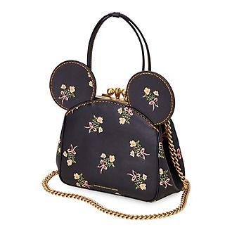 Bolso mano piel negro con flores y boquilla Minnie Mouse, COACH