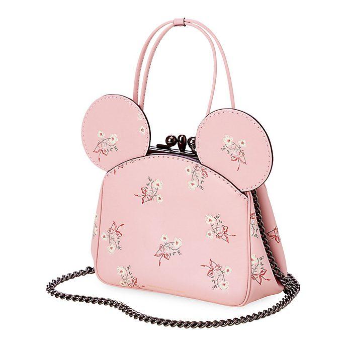 COACH Sac à main à fleurs Minnie en cuir rose avec fermoir croisé