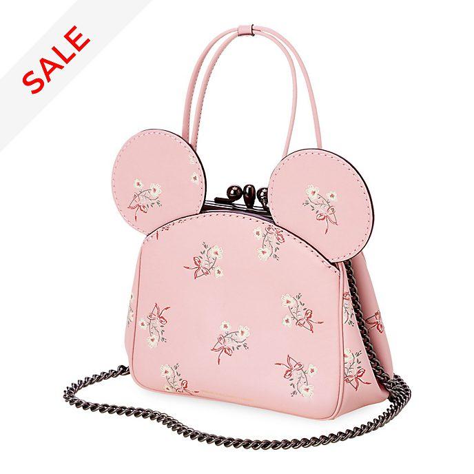 COACH - Minnie Maus - Lederhandtasche mit Blumenmuster und Kisslock-Verschluss in Pink