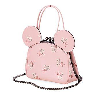 Bolso mano piel rosa con flores y boquilla Minnie Mouse, COACH