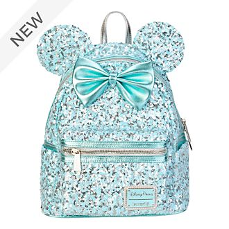Loungefly Minnie Mouse Aqua Arendelle Sequin Mini Backpack