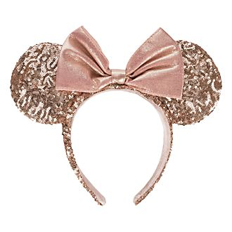 Disneyland Paris Minnie Mouse Rose Gold Sequined Ear Headband