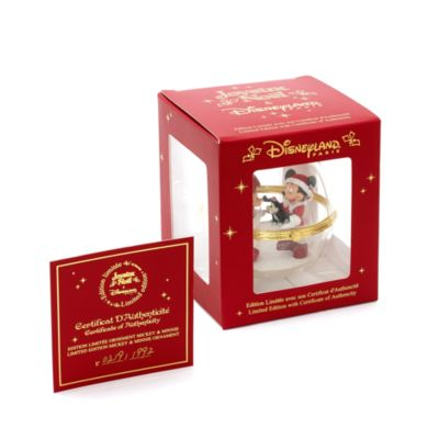 Mickey and Minnie Mouse Glass Ornament, Disneyland Paris