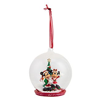 disneyland paris mickey and minnie mouse with christmas tree glass globe bauble