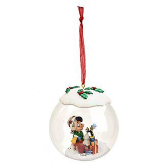 Boule de Noël en verre Pinocchio et Jiminy Cricket Disneyland Paris