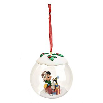 Disneyland Paris Pinocchio & Jiminy Cricket Glass Christmas Bauble