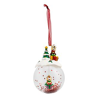 Disneyland Paris Chip & Dale Glass Christmas Bauble
