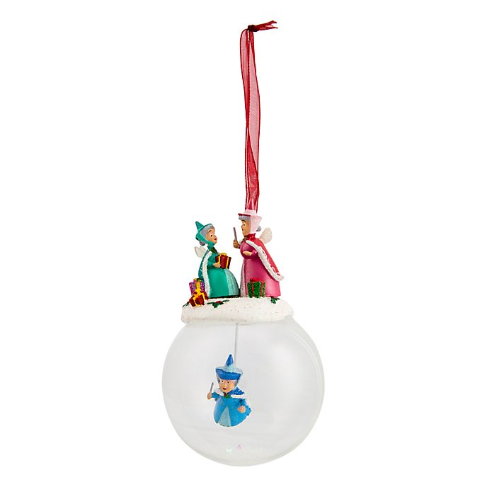 Disneyland Paris 3 Fairies Glass Christmas Bauble