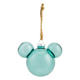 Boule de Noël tête de Mickey translucide Collection Forêt Verte Disneyland Paris