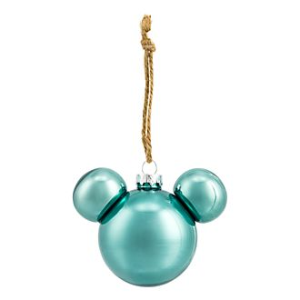 Disneyland Paris Mickey Mouse Icon Glass Bauble - Foret Verte Metallic