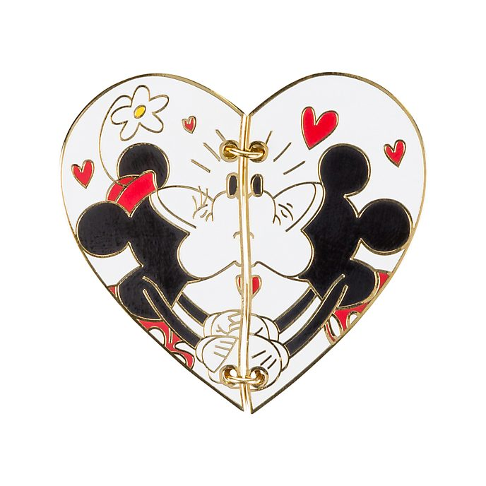 Disneyland Paris Mickey And Minnie Mouse Postcard Pin