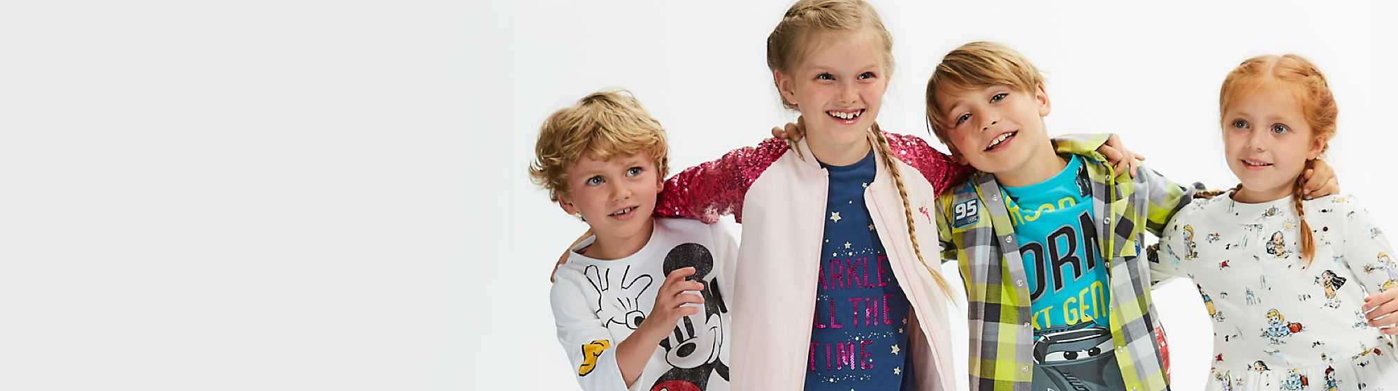 Disney Kids Disney has all the clothes kids want. Whether your little one is a budding Jedi, helpful hero or a perfect Princess, our range has it all. DISCOVER MORE