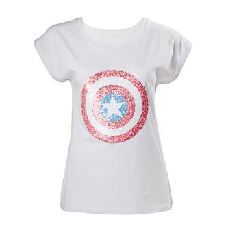 T-shirt Captain America à sequins pour femmes