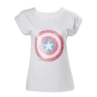 Camiseta con lentejuelas Capitán América para mujer