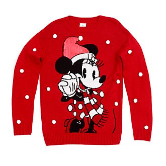 Disney Store Minnie Mouse Holiday Cheer Christmas Jumper For Adults