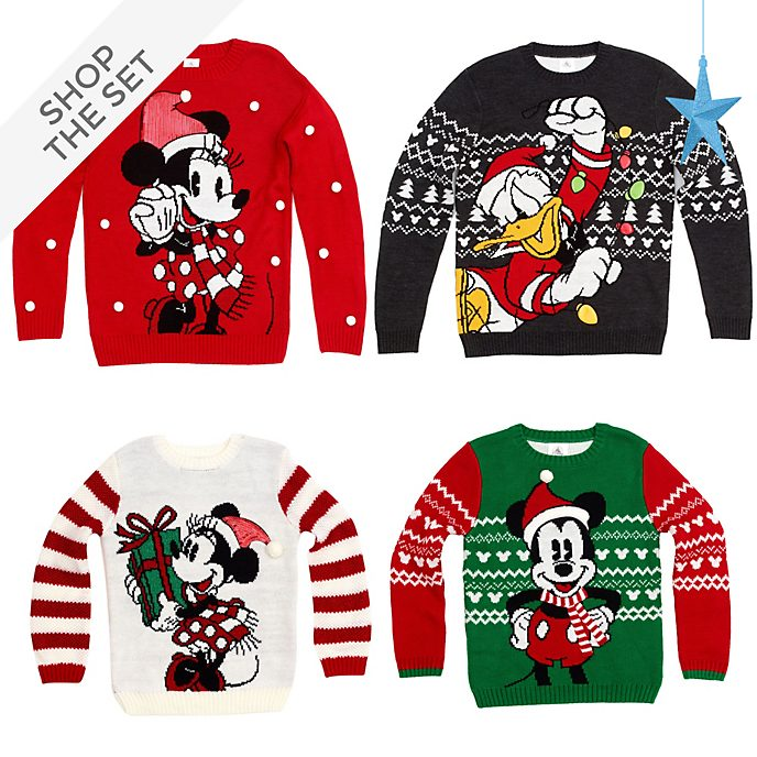 Disney Store Mickey and Friends Christmas Family Jumper and Necklace Collection