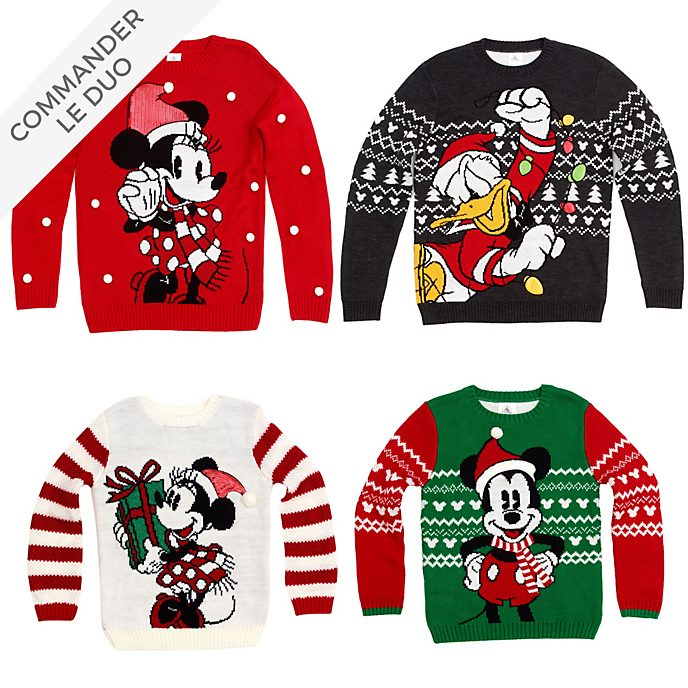 Disney Store Collection de pulls et colliers Mickey et ses Amis, Christmas Family