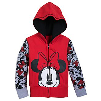 Disney Store Minnie Mouse Zip-Up Hooded Sweatshirt For Kids