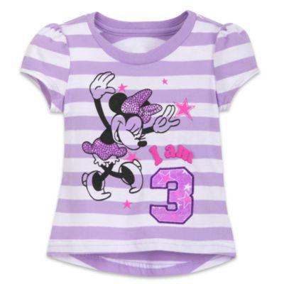 Camiseta infantil con texto y número de Minnie