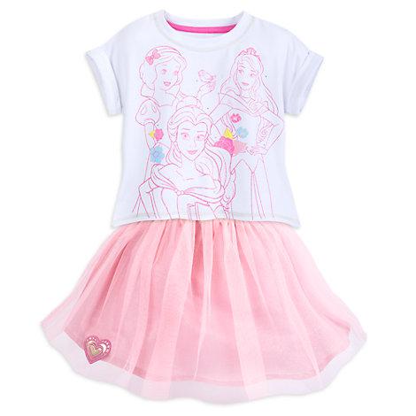Conjunto infantil camiseta y falda de princesas Disney