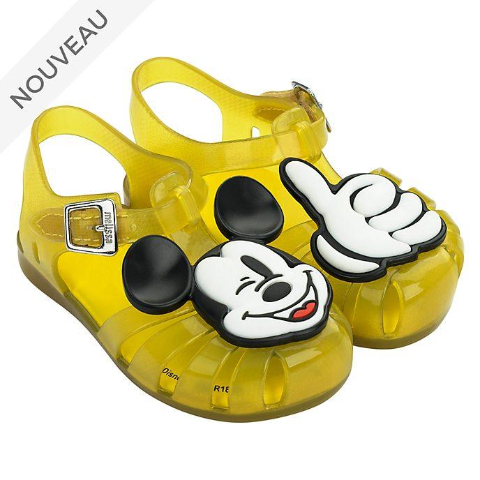 Melissa Sandales en plastique Mickey jaunes pour bébé