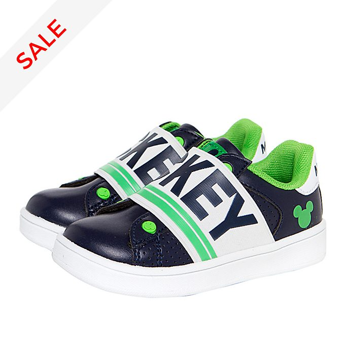 Arnetta Mickey Mouse Navy and Green Trainers For Kids, Small