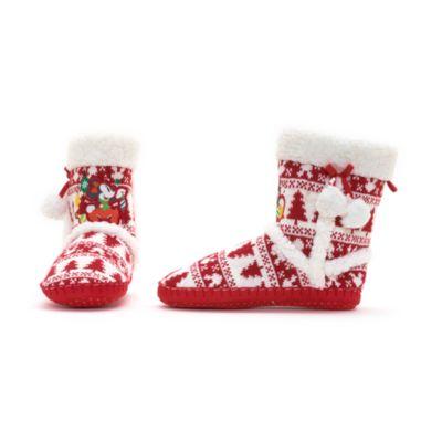 Pantofole stivaletto natalizie adulto Topolino e Minni
