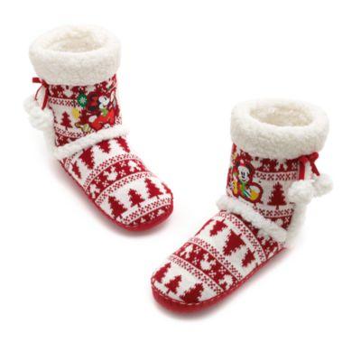 Pantuflas navideñas tipo bota Mickey y Minnie Mouse para adulto