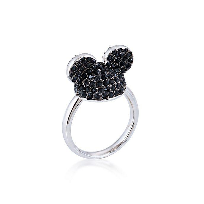 Couture Kingdom Bague Mickey Mouse plaquée or blanc à cristaux noirs