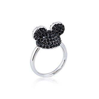 Couture Kingdom Mickey Mouse White Gold-Plated Black Crystal Ring