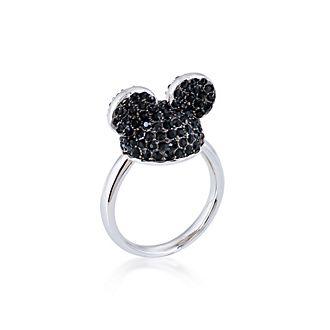Couture Kingdom - Micky Maus - Weißvergoldeter Ring mit schwarzen Kristallen