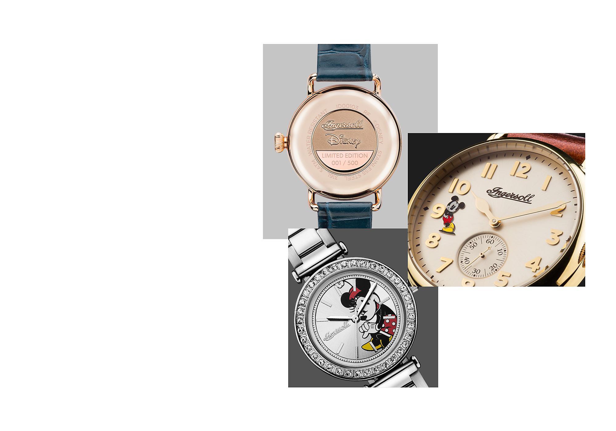 The True Original Im Jahre 1933 wurde die weltweit erste Armbanduhr mit dem Motiv von Micky Maus zusammen mit Ingersoll gefertigt. Auch heute gedeiht diese Zusammenarbeit weiterhin.