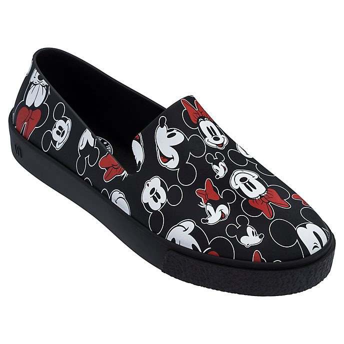 Mickey and Minnie Black Slip-On Shoes For Adults