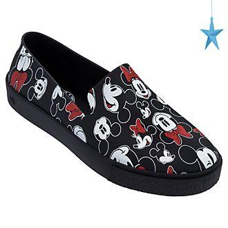 Zapatos sin cordones para adultos negro, Mickey y Minnie