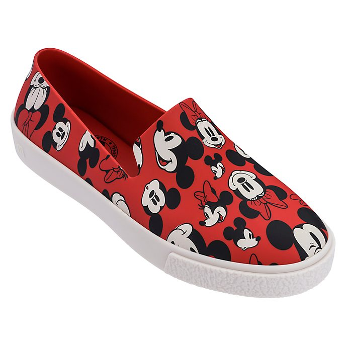 Chaussures Slip-on Mickey et Minnie Black rouges pour adulte