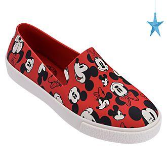 Zapatos sin cordones para adultos rojo, Mickey y Minnie