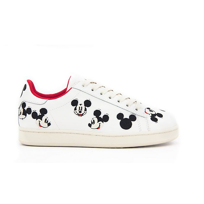Master of Arts Mickey Mouse White Leather Embroidered Trainers For Adults