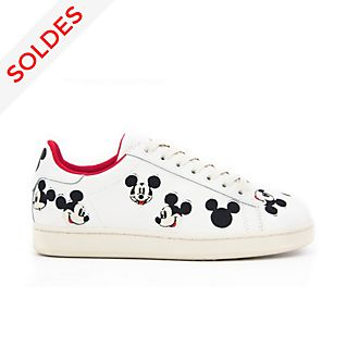 Master of Arts Baskets Mickey Mouse en cuir brodé blanches pour adultes