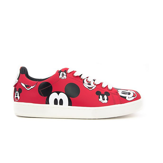 Master of Arts Mickey Mouse Printed Leather Trainers For Adults