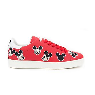 Master of Arts Mickey Mouse Embroidered Leather Trainers For Adults