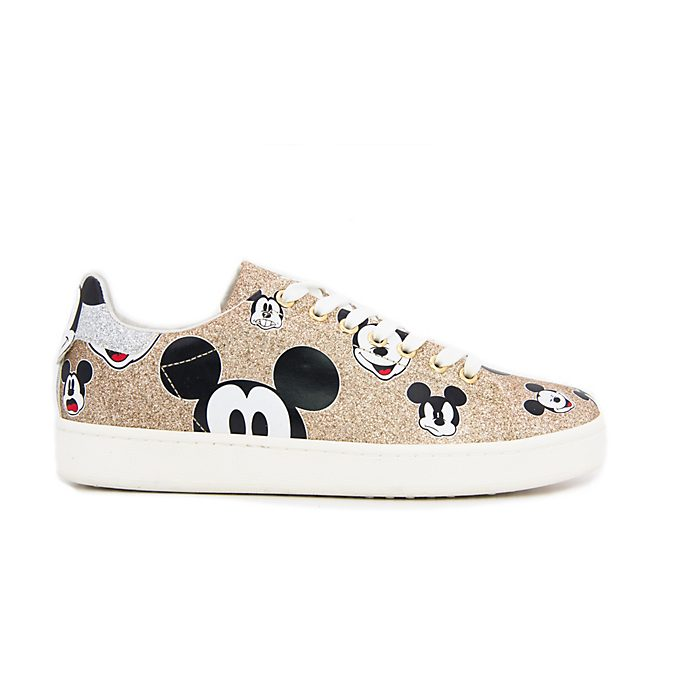 Master of Arts Mickey Mouse Gold Glitter Trainers For Adults
