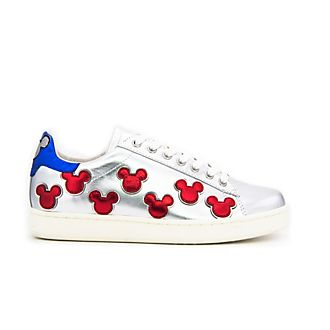Master of Arts Mickey Mouse Laminated Silver Trainers For Adults