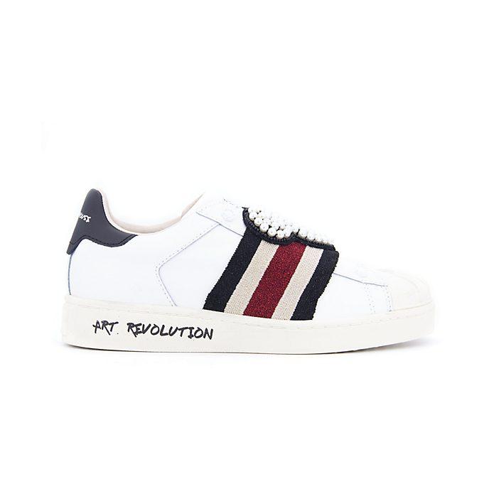 Nuovi Prodotti d0b6d 3d726 Scarpe sportive adulti in pelle colore bianco con toppe Topolino Master of  Arts