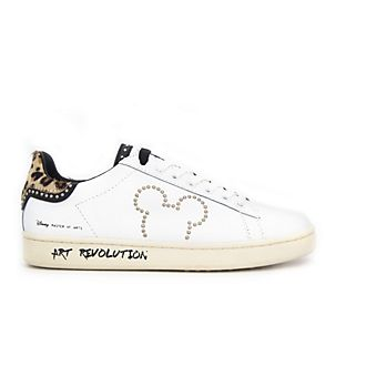 Master of Arts Mickey Mouse White Leather Trainers For Adults