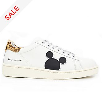 Master of Arts Mickey Mouse White and Leopard Print Trainers for Adults