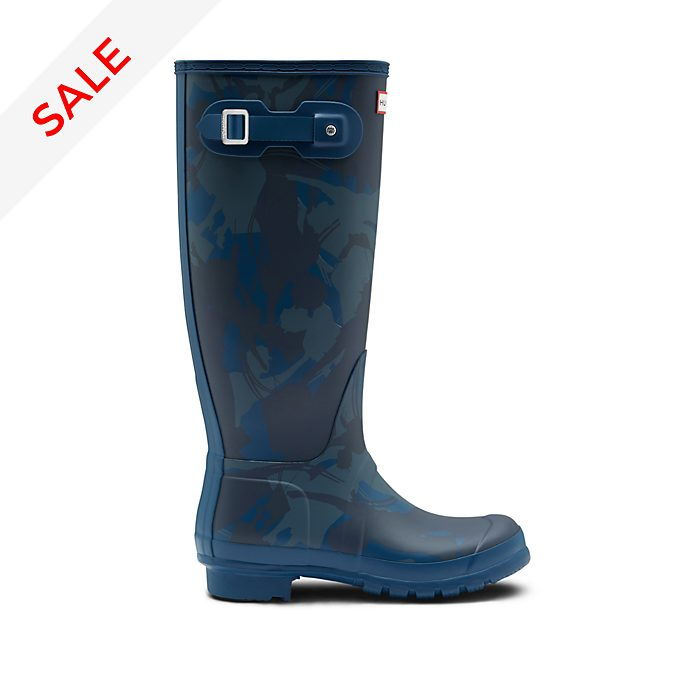 Hunter Mary Poppins Returns Long Blue Wellington Boots For Adults