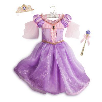 Rapunzel luksuskostume med lys og tilbehør