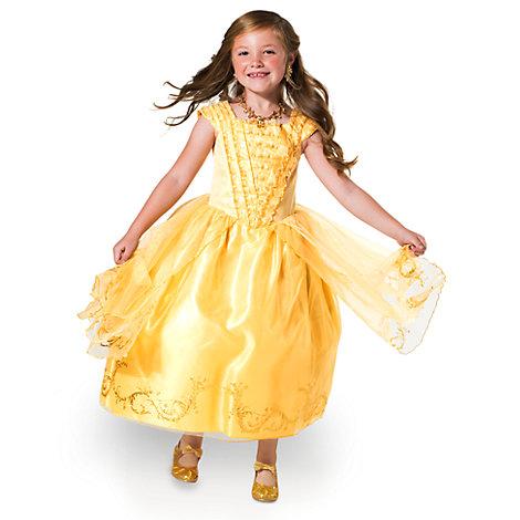 Belle Premium guldfarvet udklædningskjole til børn, Skønheden og Udyret